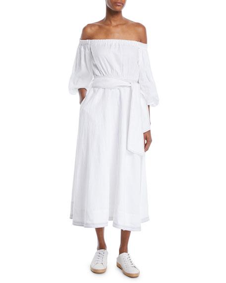 Off-the-Shoulder Linen Maxi Dress