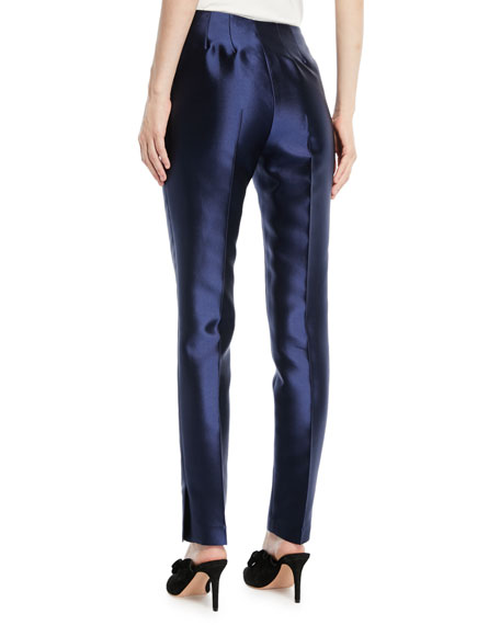 Straight-Leg Silk-Wool Pants