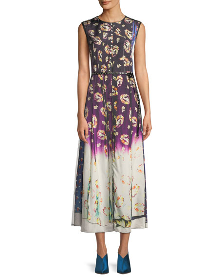 Sleeveless Photographic Floral-Print A-Line Dress W/ Studded Leather Belt in Black Multi