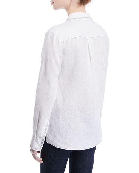 Long-Sleeve Button-Down Linen Shirt w/ Contrast Topstitching