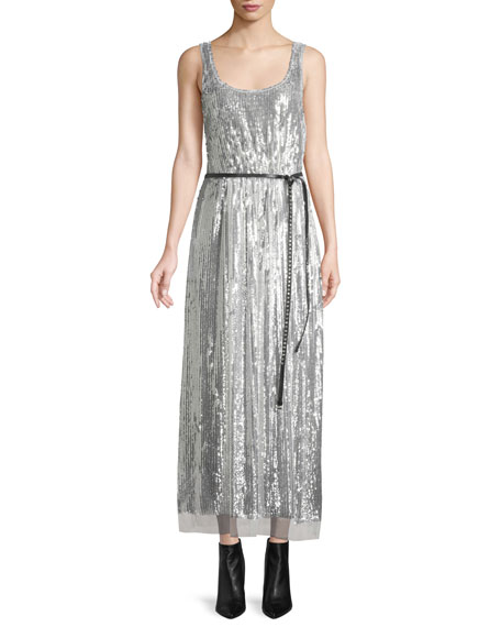 Scoop-Neck Sleeveless Mirrored-Sequins Belted Cocktail Dress in Metallic
