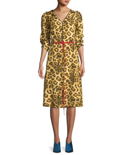 V-Neck Ruched-Sleeves Leopard-Print Dress w/ Contrast Leather Belt