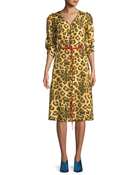 V-Neck Ruched-Sleeves Leopard-Print Dress W/ Contrast Leather Belt in Yellow