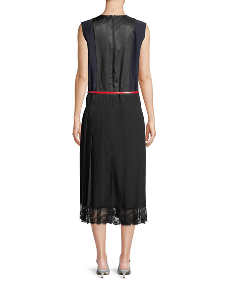 Crewneck Sleeveless Colorblock A-Line Silk Midi Dress w/ Lace Hem