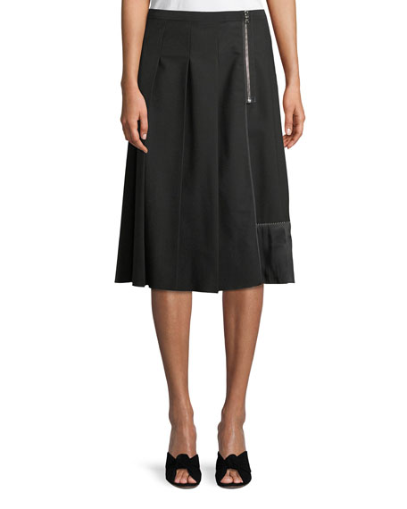 Zip Detail Pleated Stretch Wool Skirt, Black