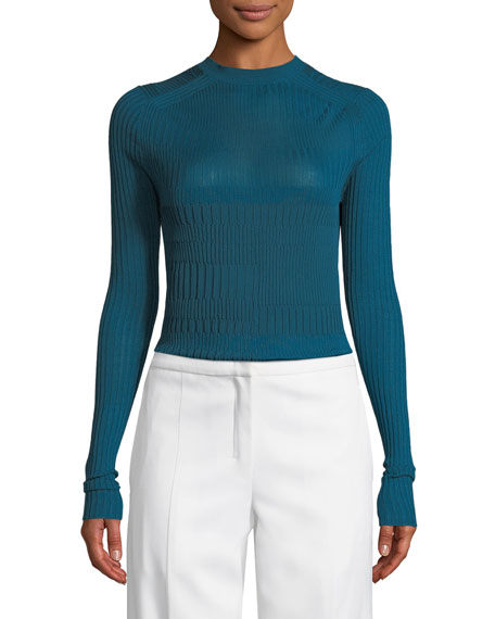 Rib-Knit Mock-Neck Top