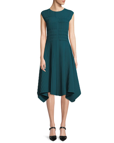 Compact Double Knit Asymmetric Sleeveless Dress