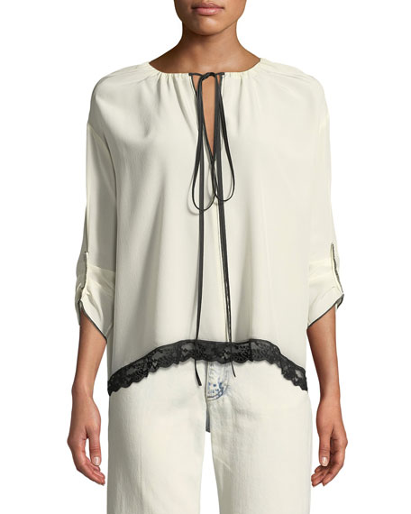 3/4-Sleeve Tie-Neck Silk Blouse w/ Lace Trim