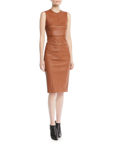 Sleeveless Stretch Leather Paneled Midi Dress