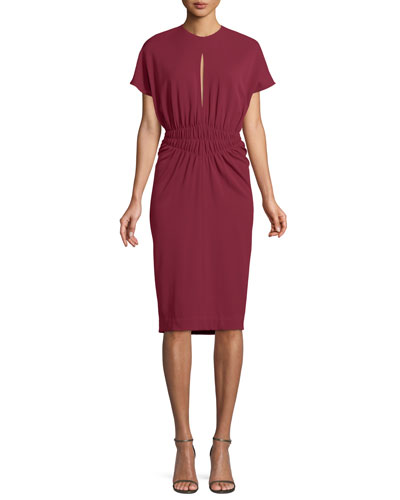 Crepe Jersey Cinched-Waist Dress