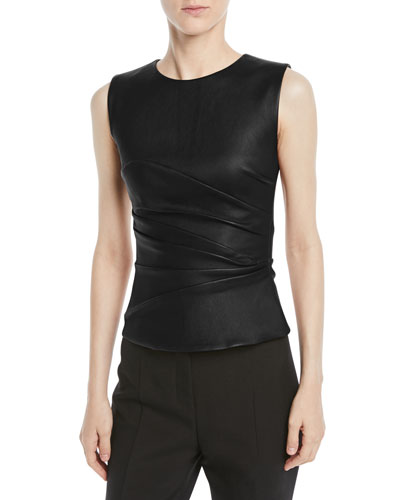 Stretch Leather Fitted Sleeveless Top