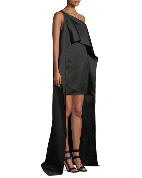 Duchess Satin One-Shoulder Asymmetric Drape Dress