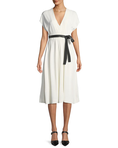 Crepe Jersey V-Neck Short-Sleevei Dress w/ Lambskin Belt