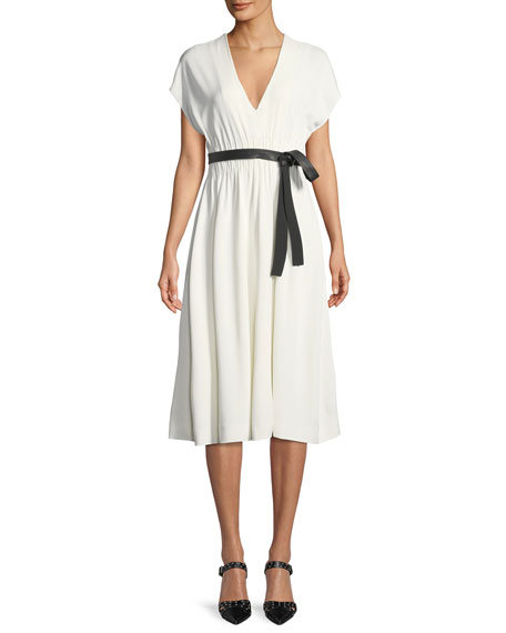 daf558254b76 Narciso Rodriguez Crepe Jersey V-Neck Short-Sleevei Dress w/ Lambskin Belt
