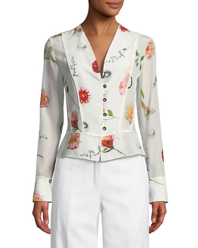 V-Neck Button-Front Long-Sleeve Floral-Print Silk Top
