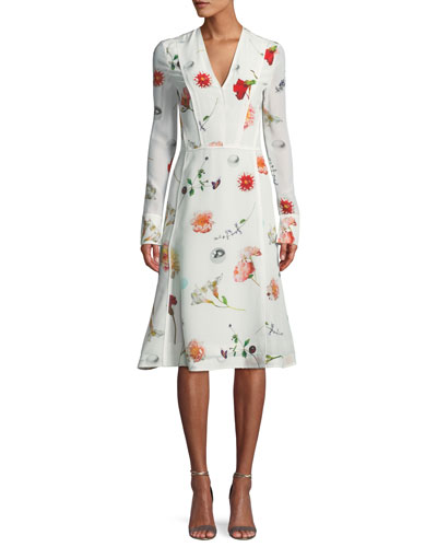 Floral Long-Sleeve V-Neck Silk Midi Dress
