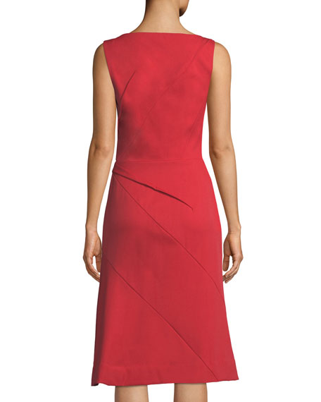 Sleeveless Pleated Front Midi Dress