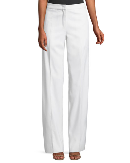 Wide-Leg Stretch-Wool Gabardine Pants