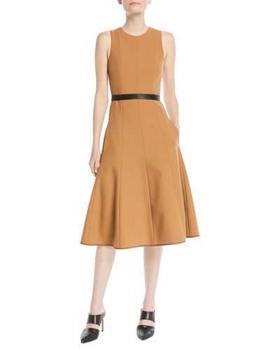 Twill Sleeveless Fit-and-Flare Midi Dress