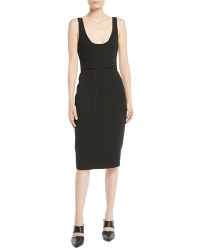 Twill Sleeveless Scoop-Neck Cocktail Dress