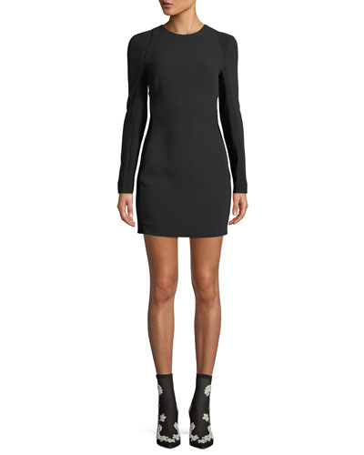 Long-Sleeve Crewneck Body-Con Mini Cocktail Dress