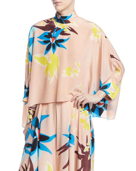 Mock-Neck Long-Sleeve Floral-Print Silk Swing Top, Pink Pattern