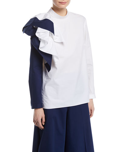 Colorblock Ruffle Long-Sleeve Cotton Top