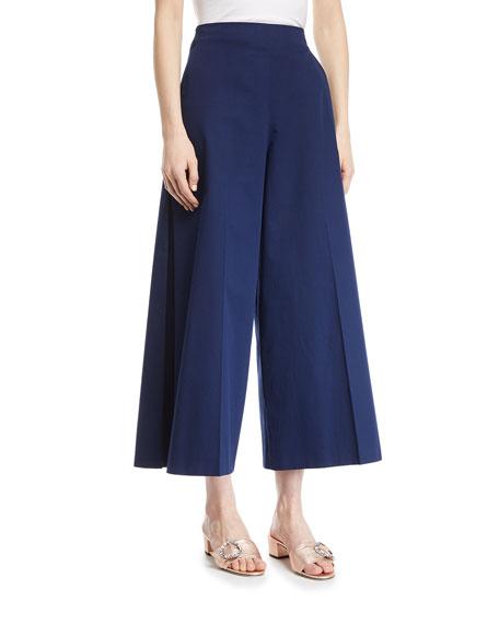Delpozo Wide-Leg Cotton Cropped Pants