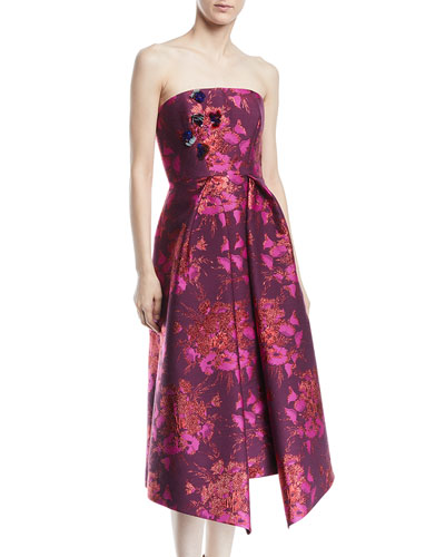 Strapless Metallic-Jacquard Cocktail Dress w/ Embellishments