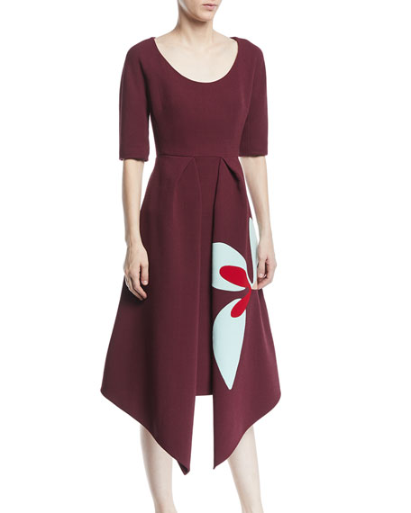 DELPOZO Scoop-Neck Short-Sleeve Asymmetric-Hem Dress W/ Floral-Print in Red