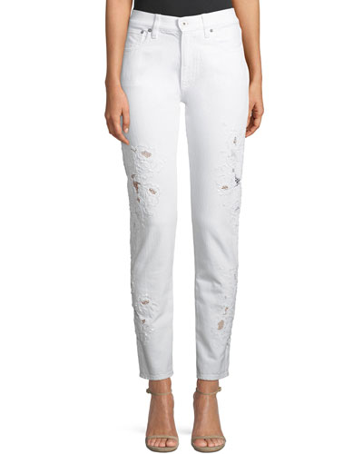 444 Sequined-Lace Skinny-Leg Jeans