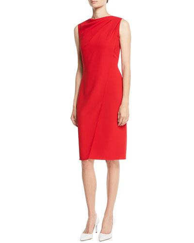 Laciann Sleeveless Drape-Front Crepe Cady Sheath Dress