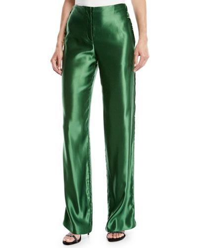 Liquid Satin Straight-Leg Trousers