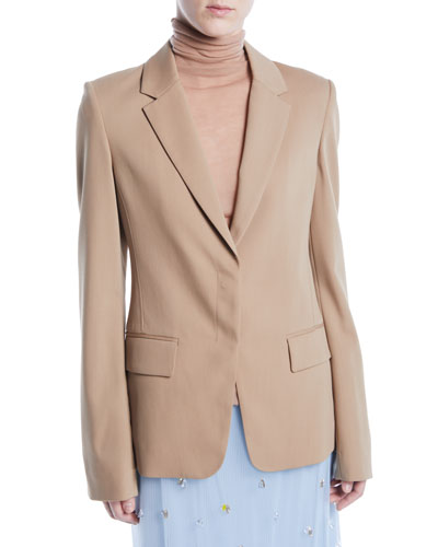 Notched-Lapel Single-Breasted Wool Suiting Blazer