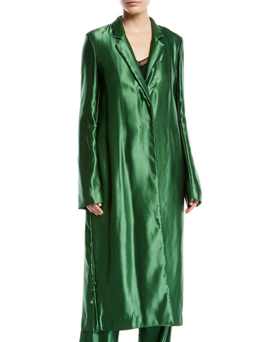 Liquid Satin Single-Breasted Long Coat