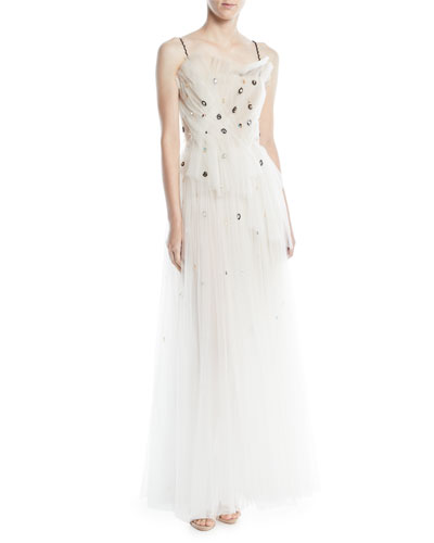 Embellished Sleeveless Sheer Tulle Evening Gown