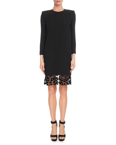 Jewel-Neck Crepe Shift Cocktail Dress w/ Leopard-Lace Trim