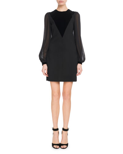 Velvet V-Front Sheer Long-Sleeve Wool Cocktail Dress