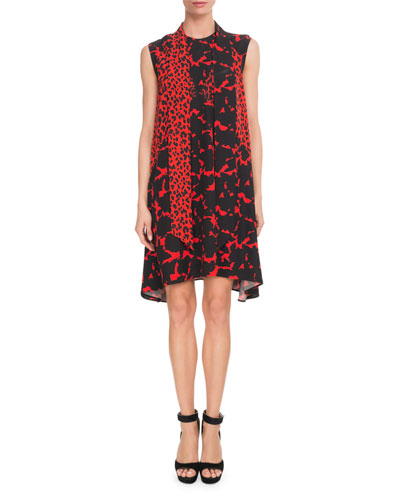 Sleeveless Leopard-Print Scarf-Neck Oversized Silk Crepe Dress