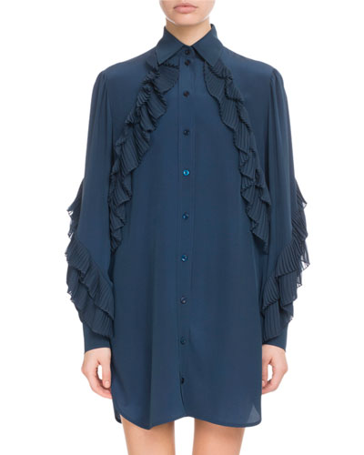 Button-Front Long-Sleeve Silk Tunic Dress w/ Pleated Ruffles