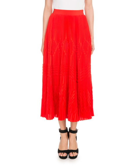 07b334629f Givenchy Pleated Lace Midi Skirt