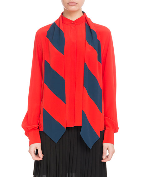 b0e56e3cc0c05f Givenchy Long-Sleeve Button-Front Silk Blouse with Striped Detachable Scarf