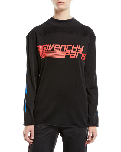 Sport Logo Crewneck Long-Sleeve Tech Fabric Shirt