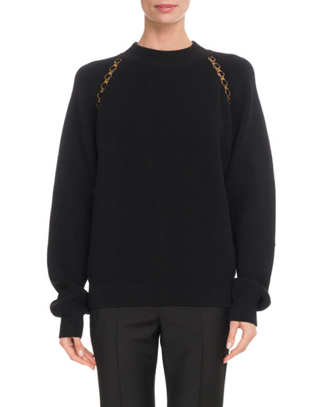 Crewneck Long-Sleeve Wool Pullover Sweater W/ Chain Detail in Black