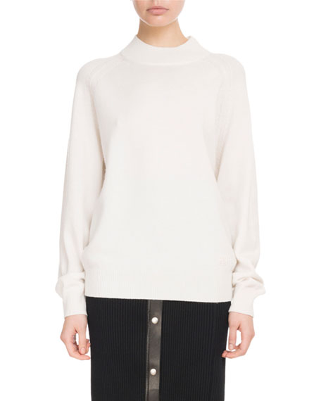 Mock-Neck Long-Sleeve Cashmere Sweater W/ Logo Detail in White