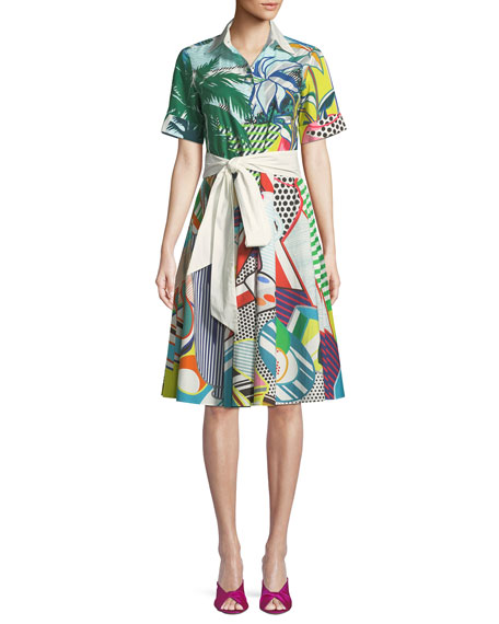 MARY KATRANTZOU Short-Sleeve Button-Down Tie-Waist Pop-Art Print Cotton Shirtdress in Multicolour
