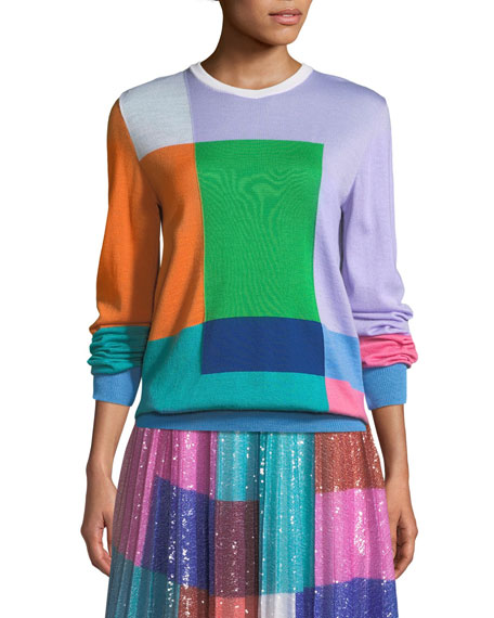 Long-Sleeve Colorblocked Wool Pullover Sweater