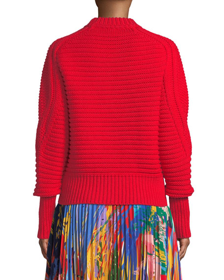 Crewneck Long-Sleeve Chunky Wool Pullover Sweater