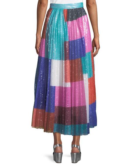 High-Waist Colorblocked Sequin Pleated Midi Skirt