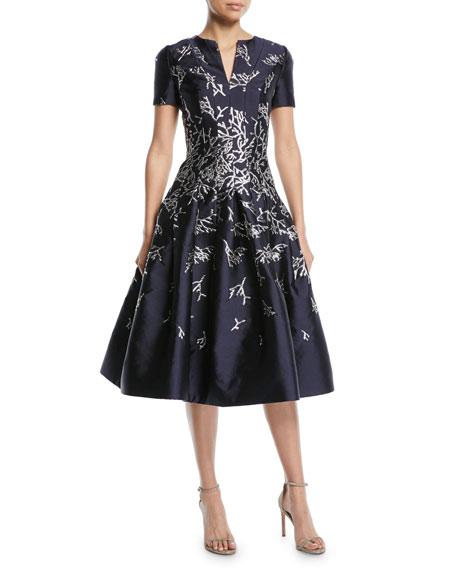 Oscar De La Renta Short Sleeve Coral Jacquard Full Skirt Cocktail